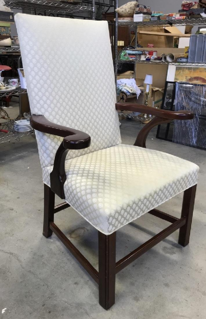 Mahogany Toned Wooden & Upholstered Arm Chair