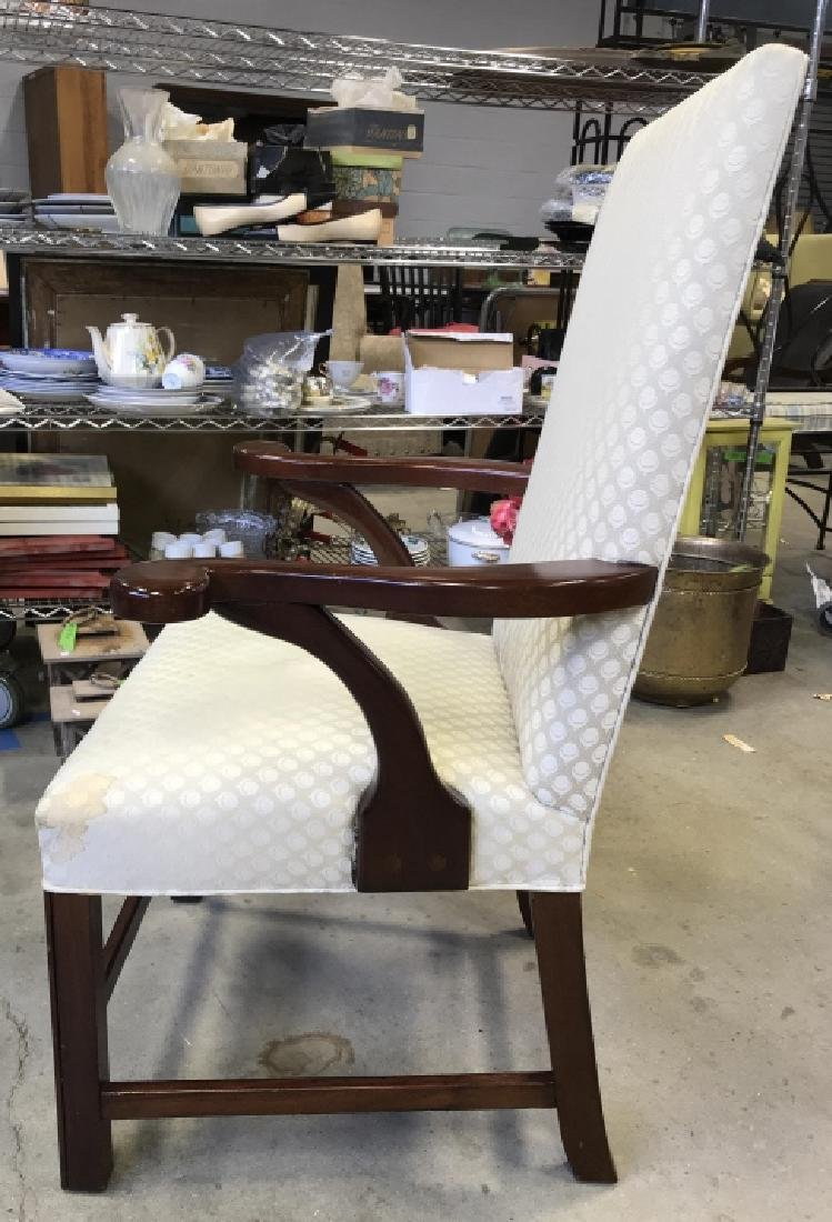 Mahogany Toned Wooden & Upholstered Arm Chair - 6