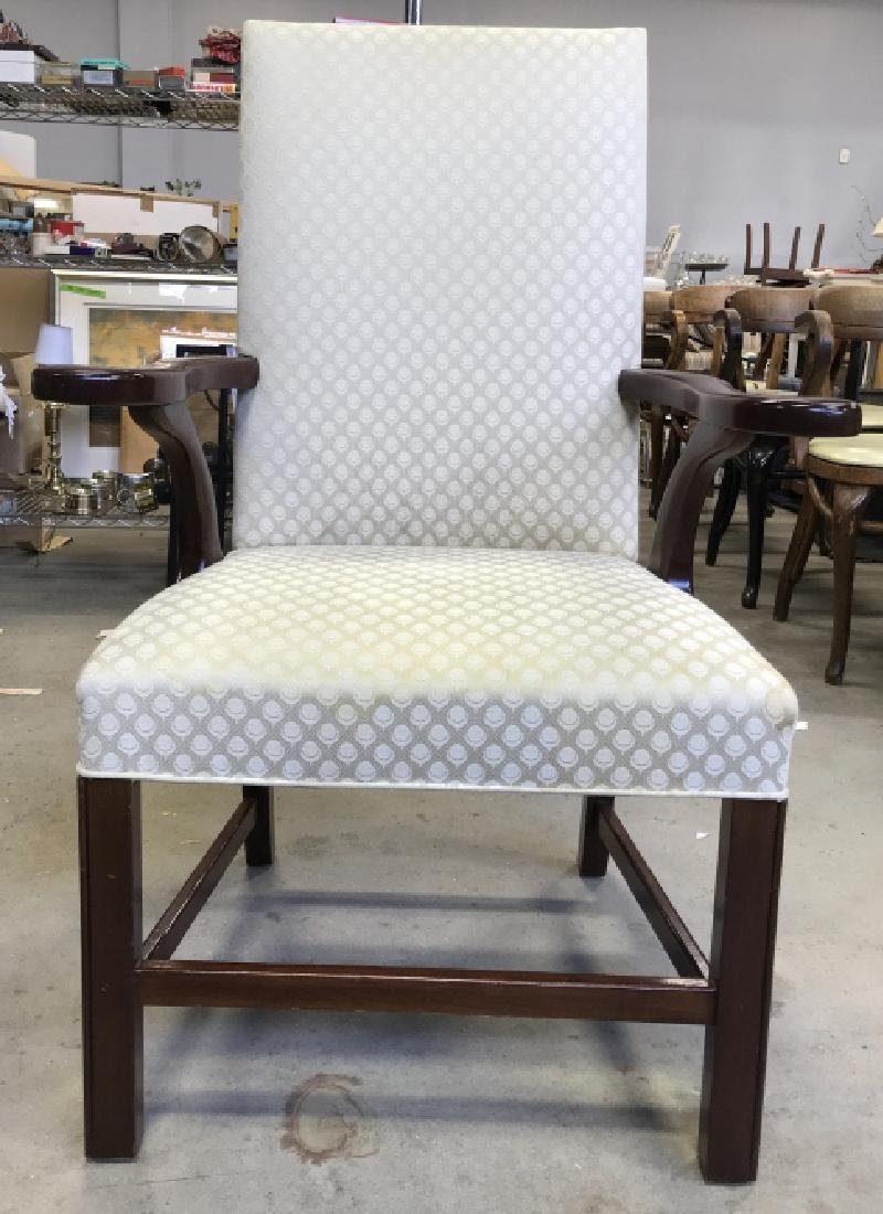 Mahogany Toned Wooden & Upholstered Arm Chair - 8