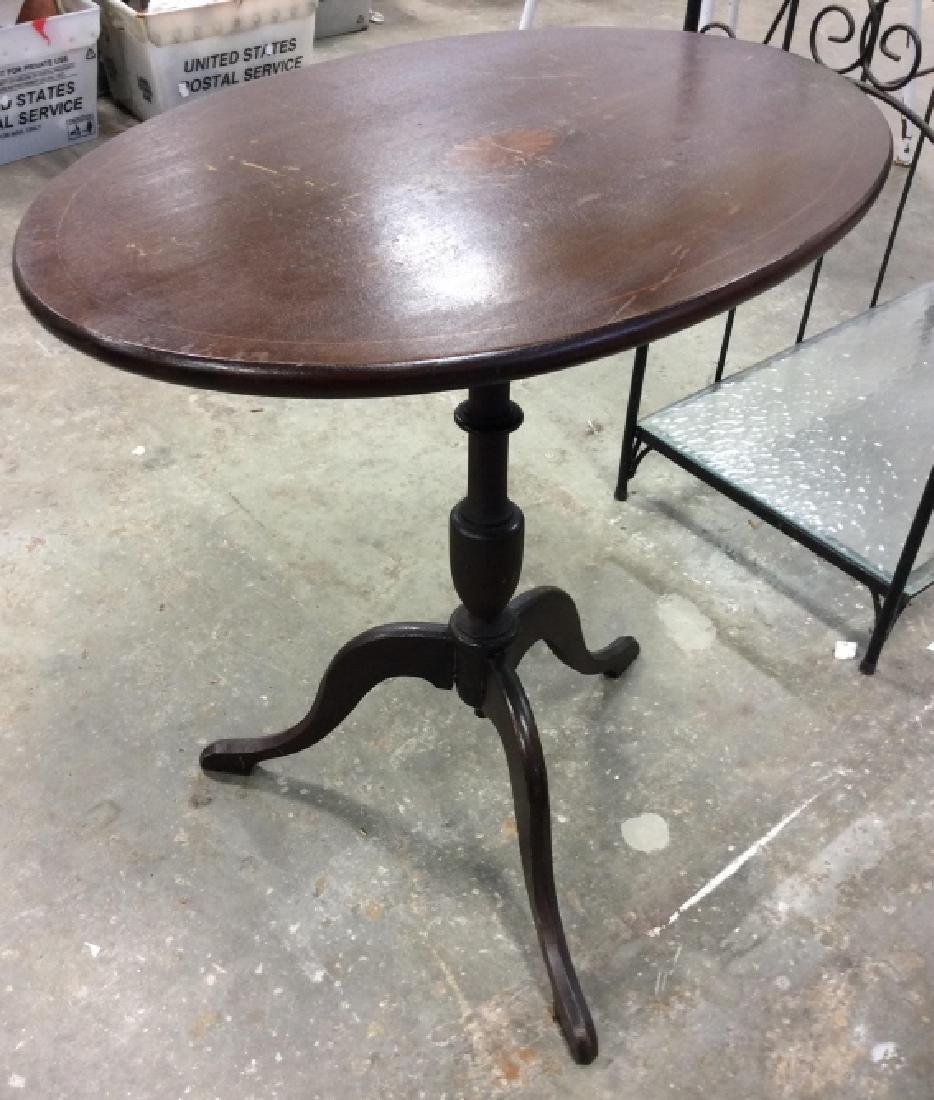 Folding Pedestal Table W Inlay
