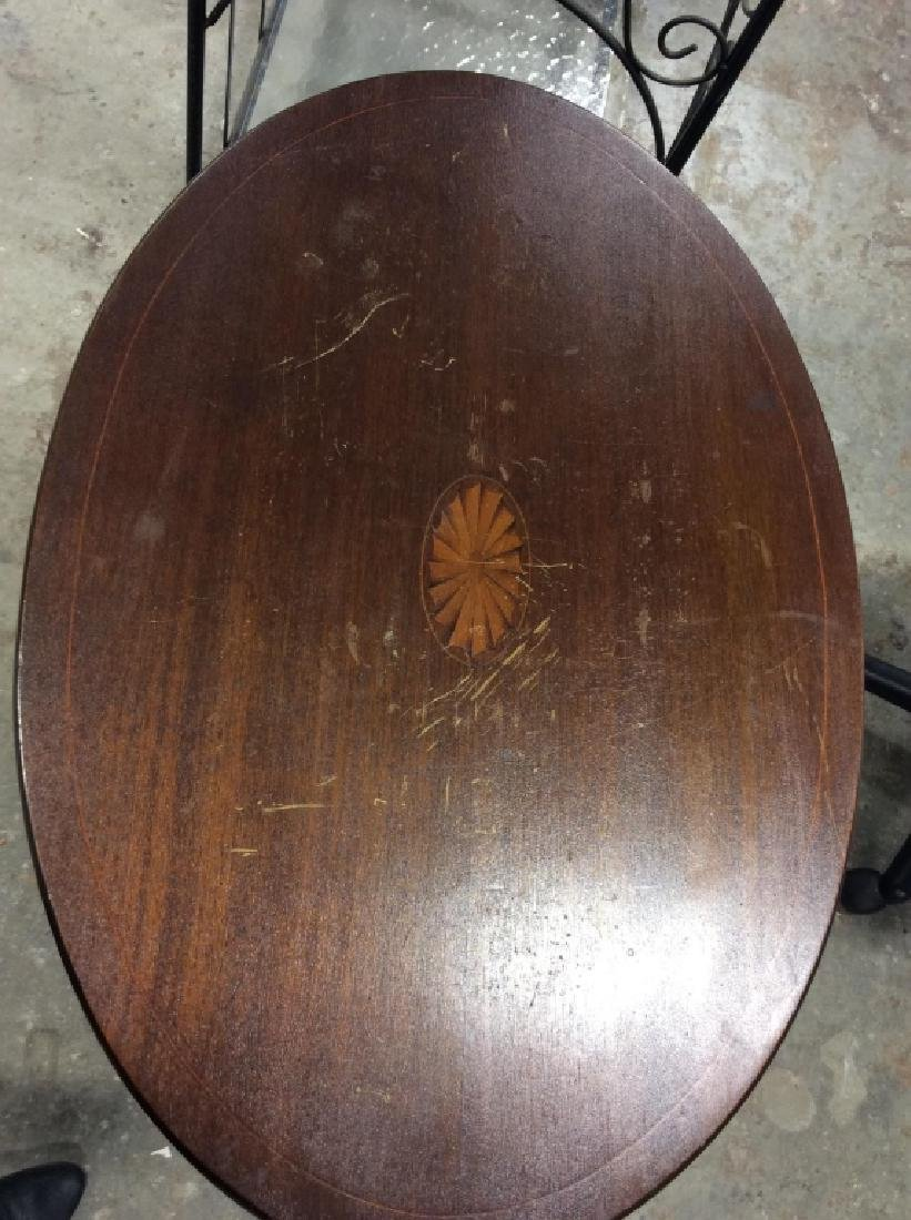 Folding Pedestal Table W Inlay - 4