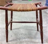 Small wood W Woven Seat Ottoman