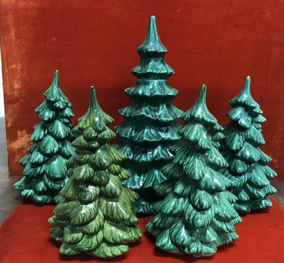 Set of 5 Ceramic Evergreen Trees