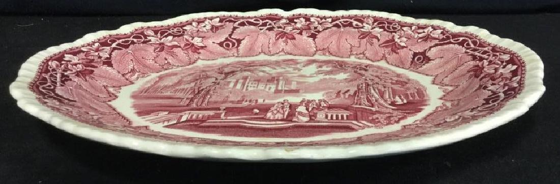 MASON'S Ironstone Red & White Serving Platter - 8