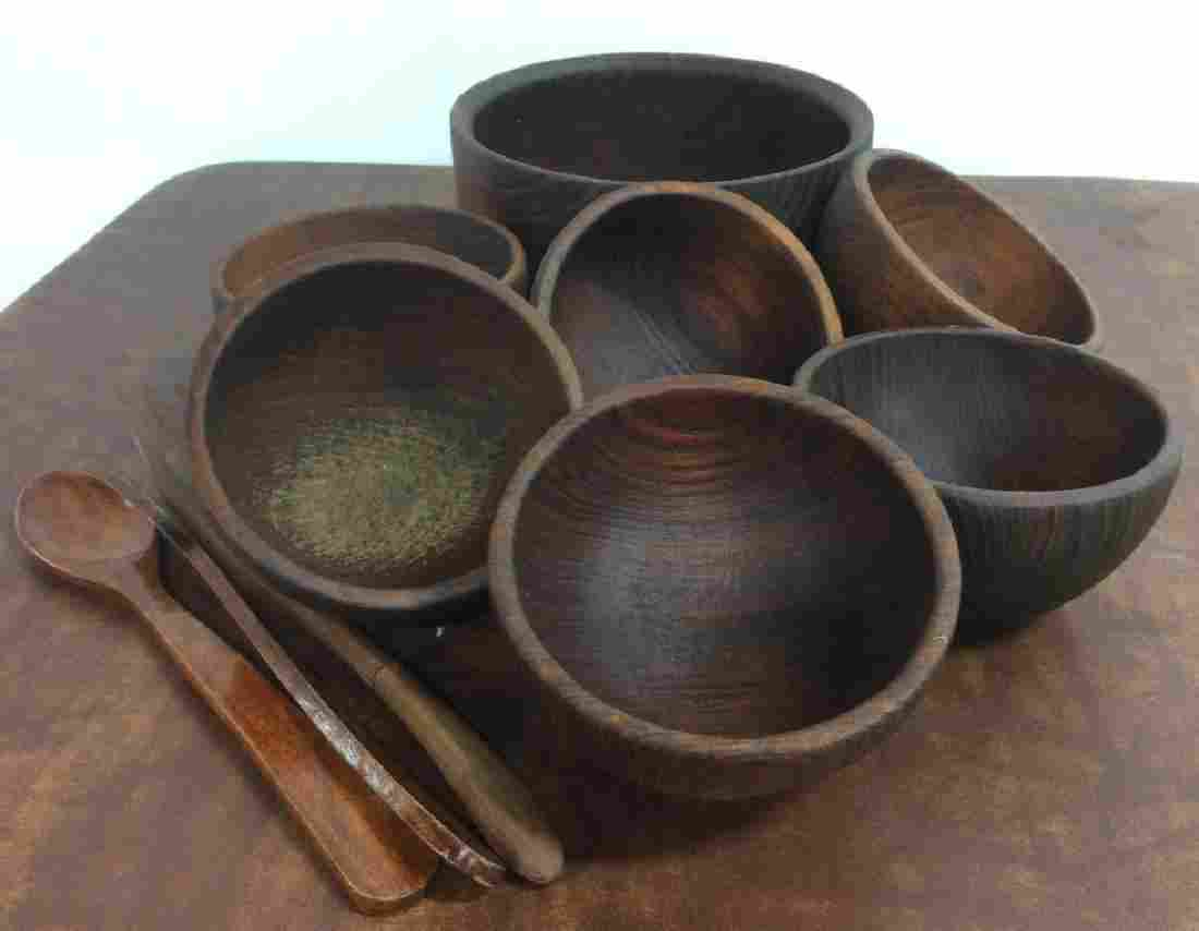 Vintage Wooden Salad Bowl Set