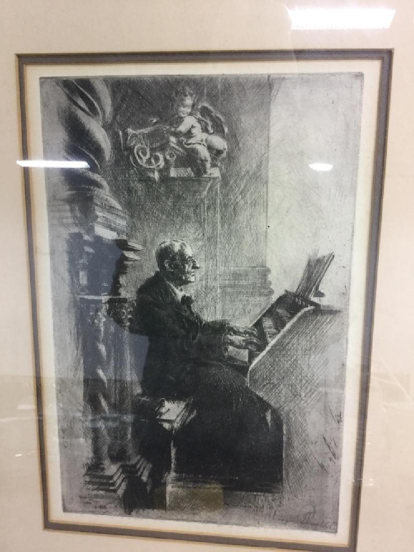 Framed Print Of Clergy Playing the Church Organ - 2