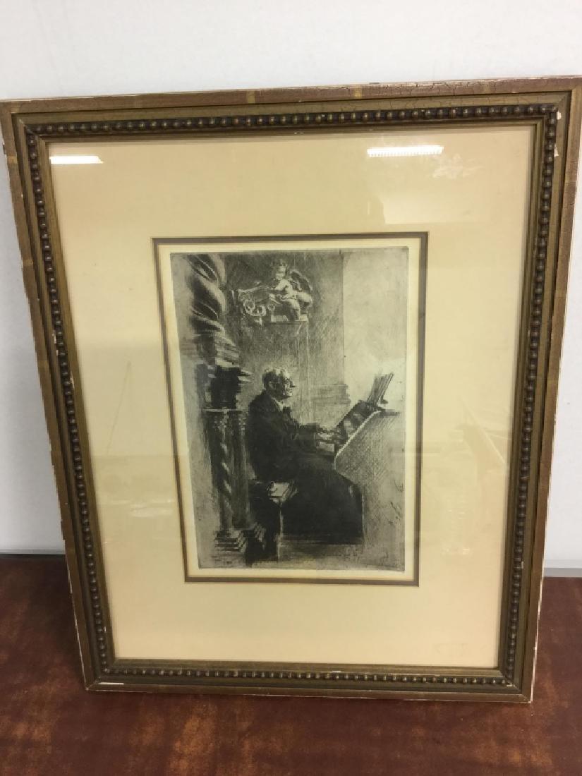 Framed Print Of Clergy Playing the Church Organ - 3