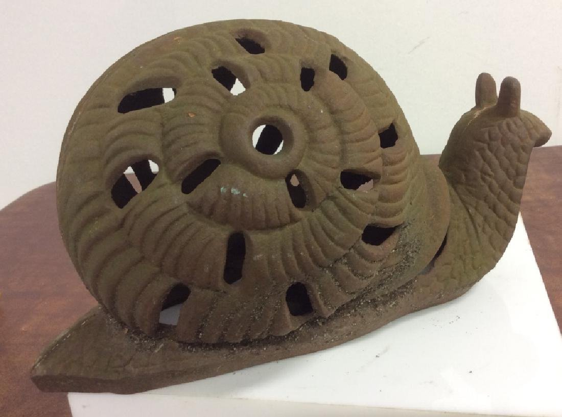 Vintage Cast Iron Garden Sculpture Of Snail - 9
