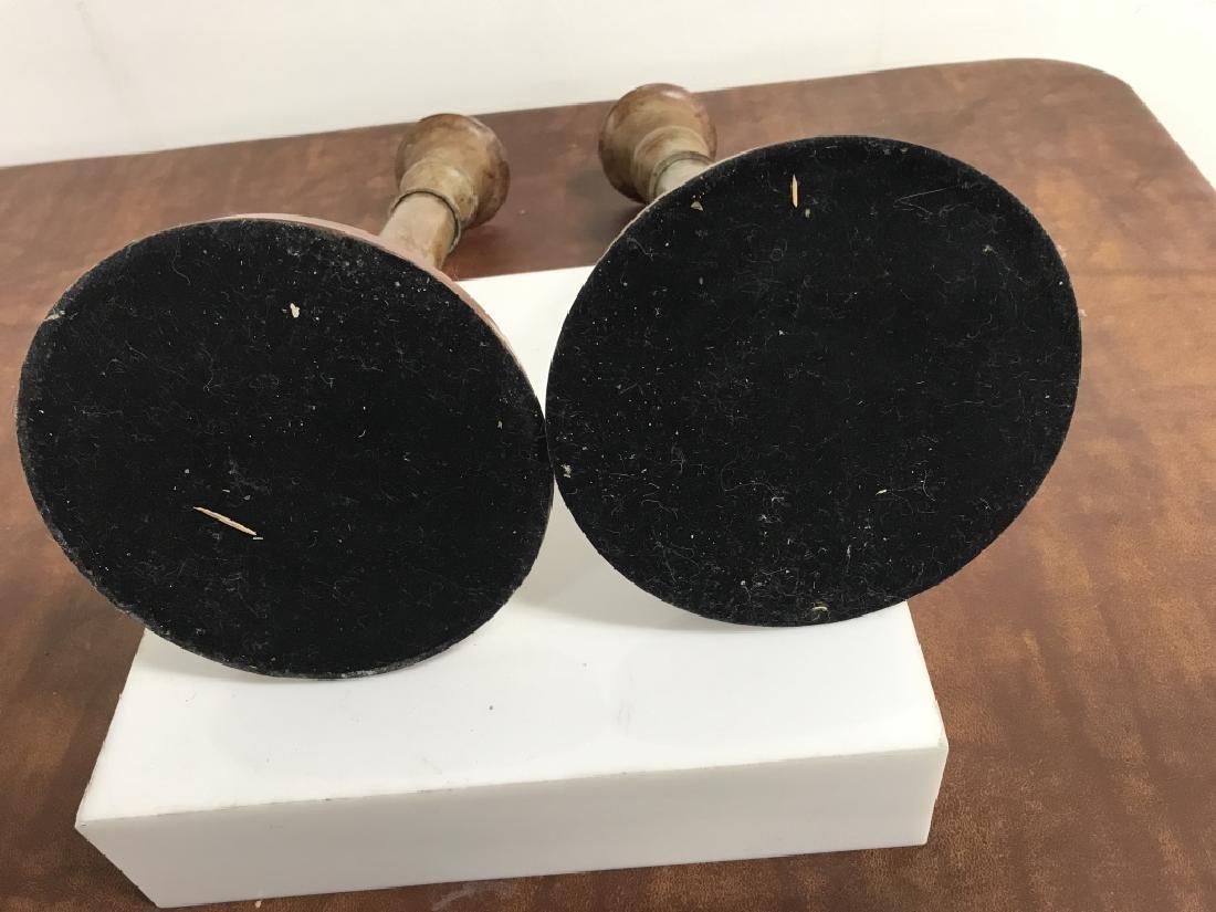 Pair Marbleized Metal Candlesticks - 9