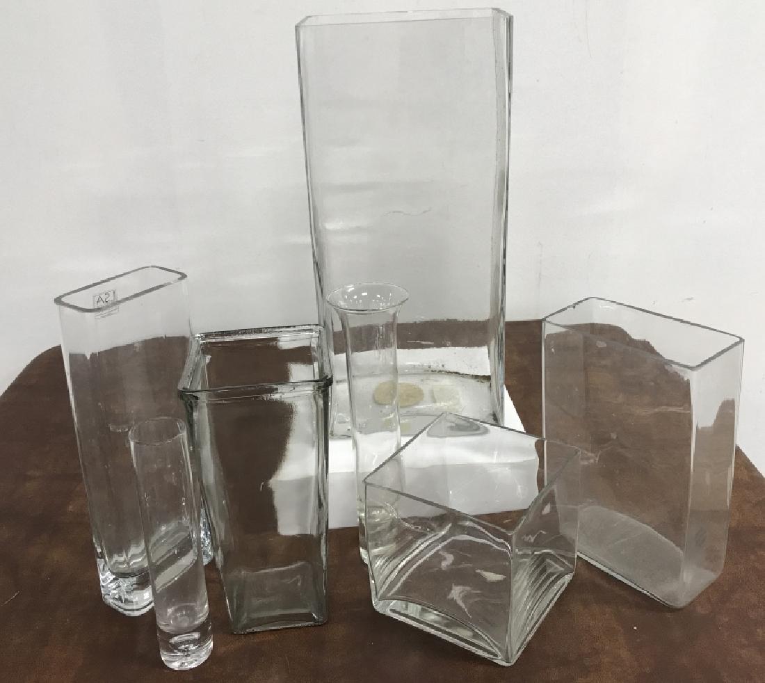 Group Lot of 7 Modern Glass Vases
