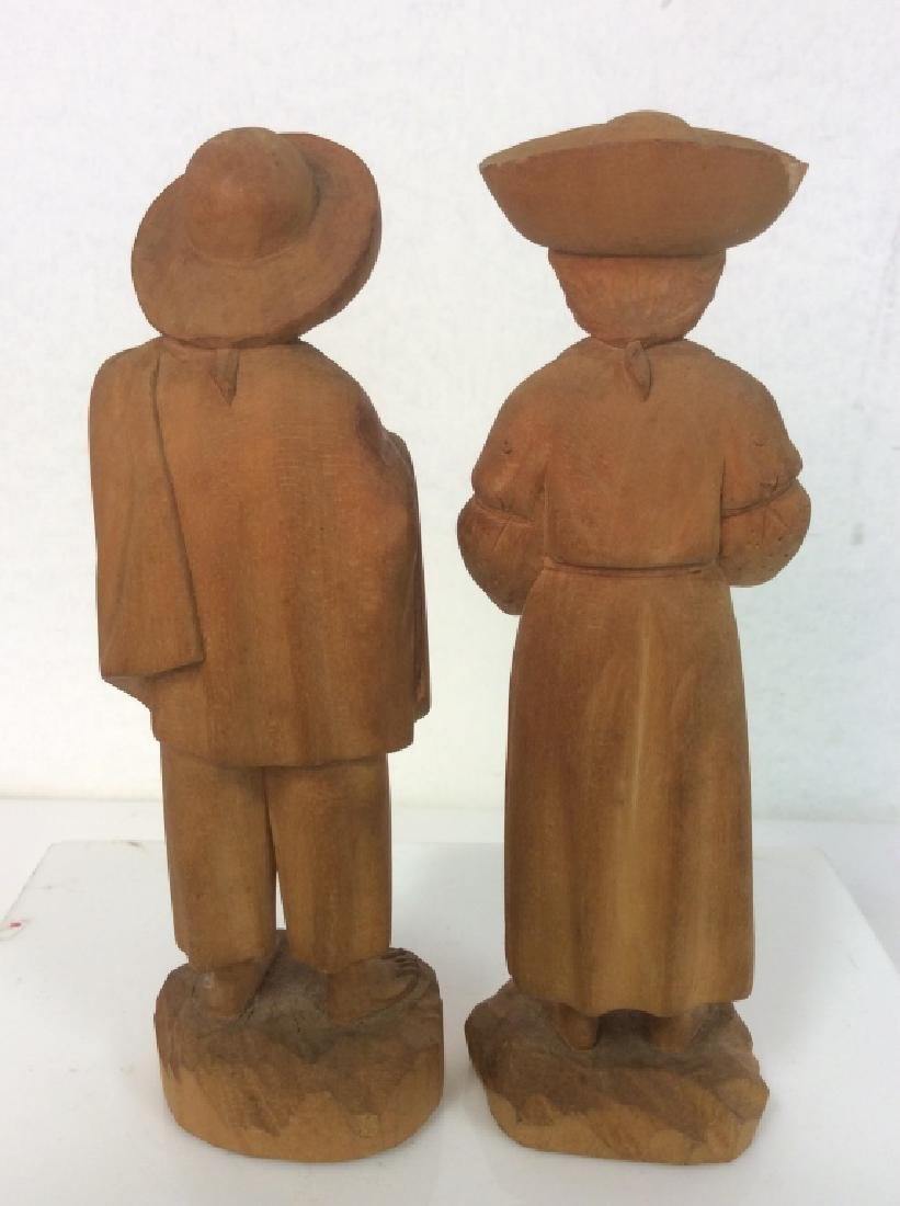 Group of 3 Hand-Carved Wooden Figurines - 10