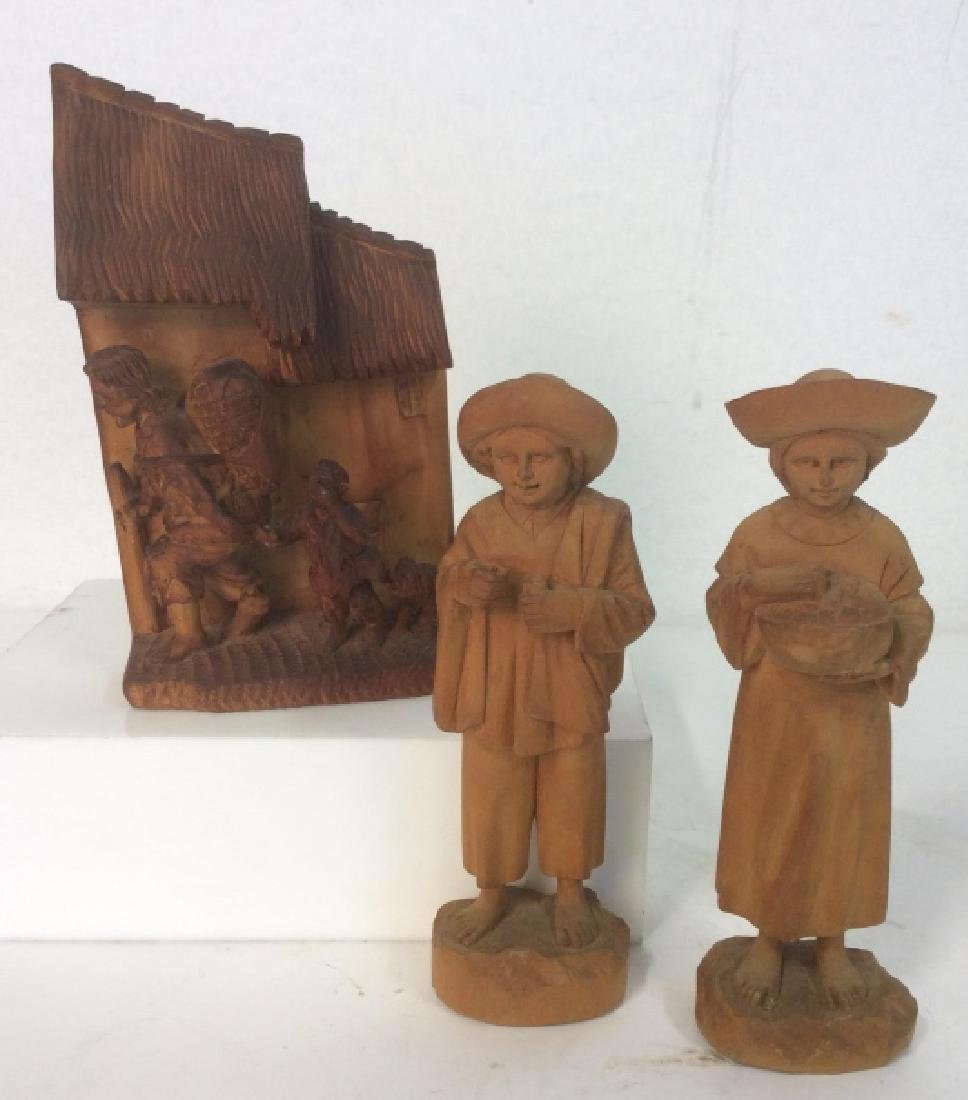 Group of 3 Hand-Carved Wooden Figurines