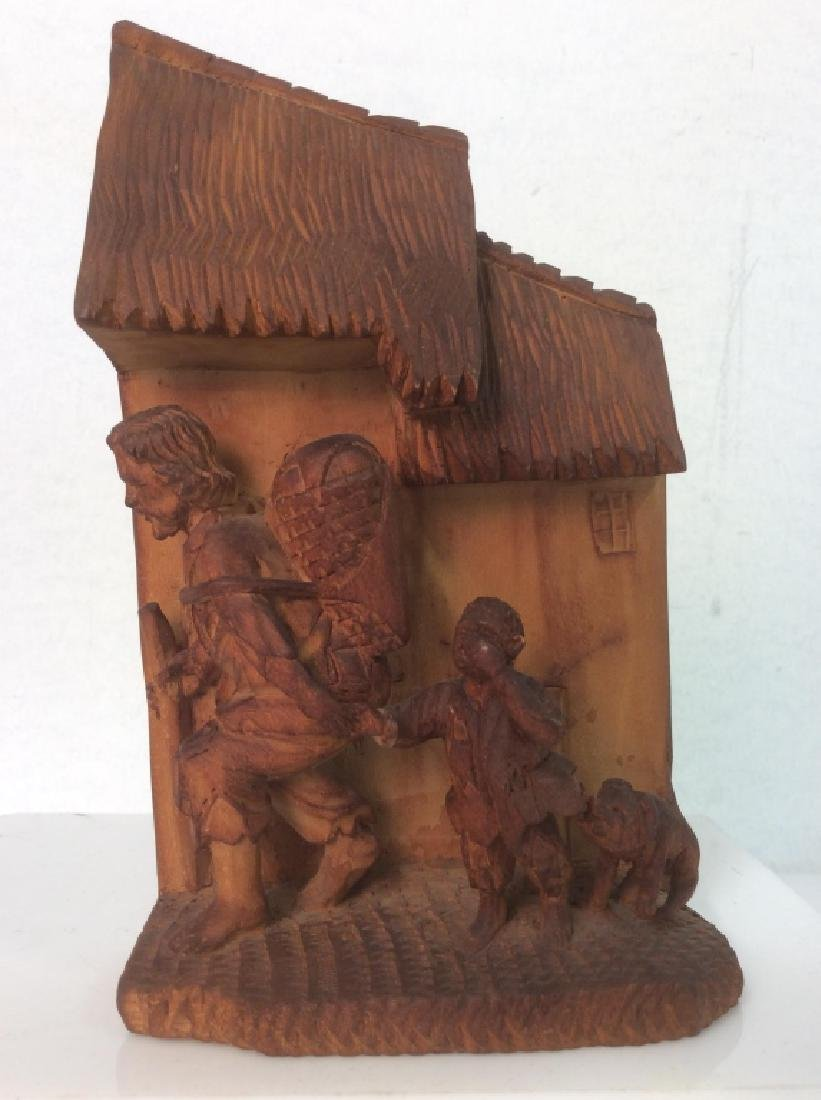 Group of 3 Hand-Carved Wooden Figurines - 2