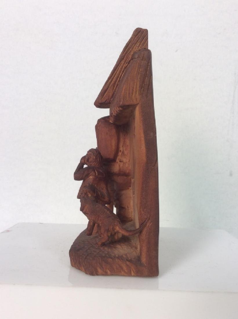 Group of 3 Hand-Carved Wooden Figurines - 5