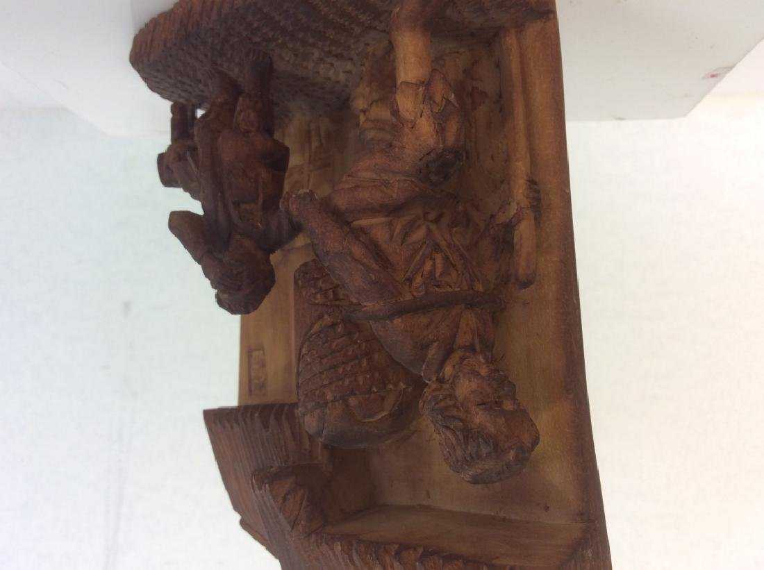 Group of 3 Hand-Carved Wooden Figurines - 6