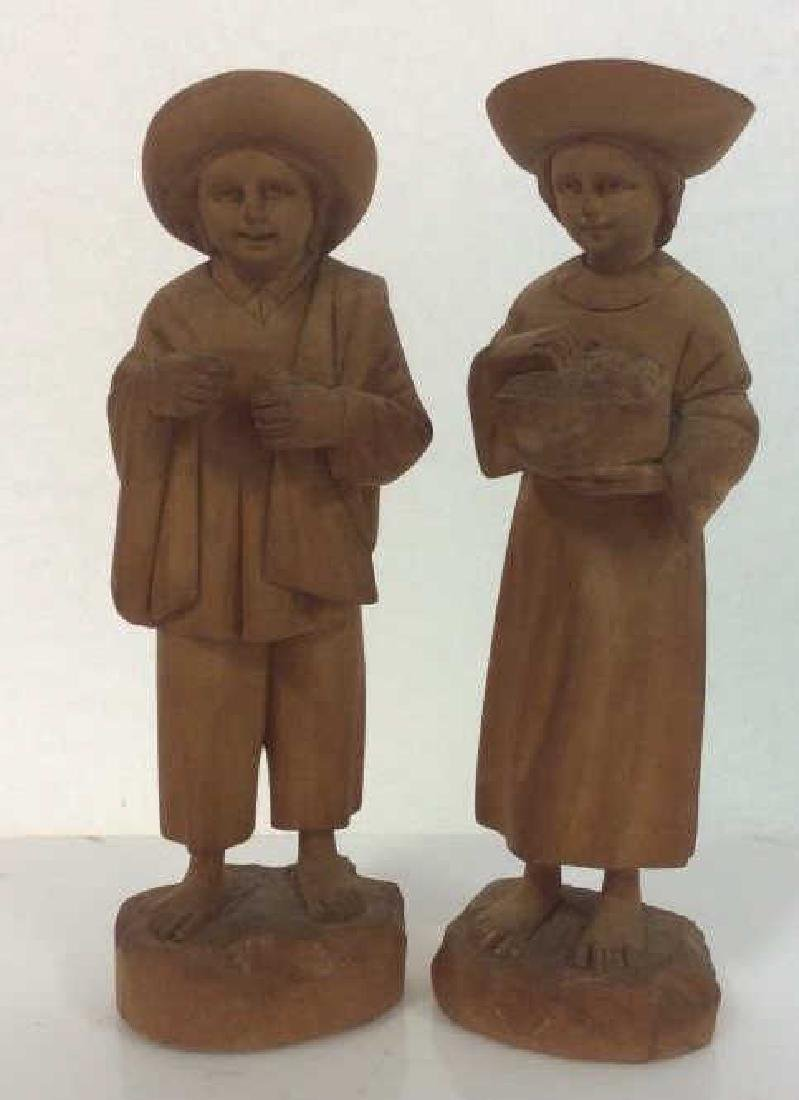 Group of 3 Hand-Carved Wooden Figurines - 7