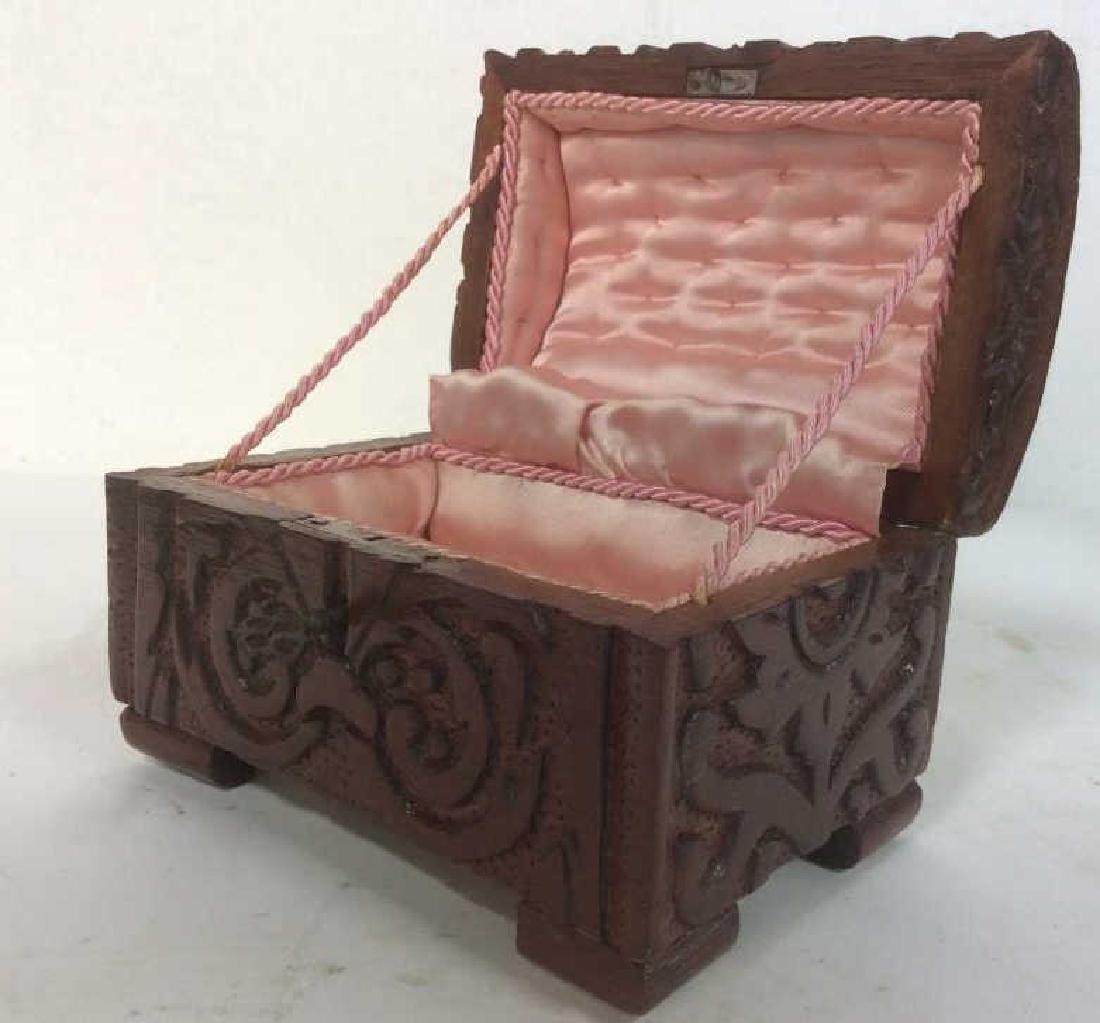 Vintage Carved Wooden Lidded Box W Key