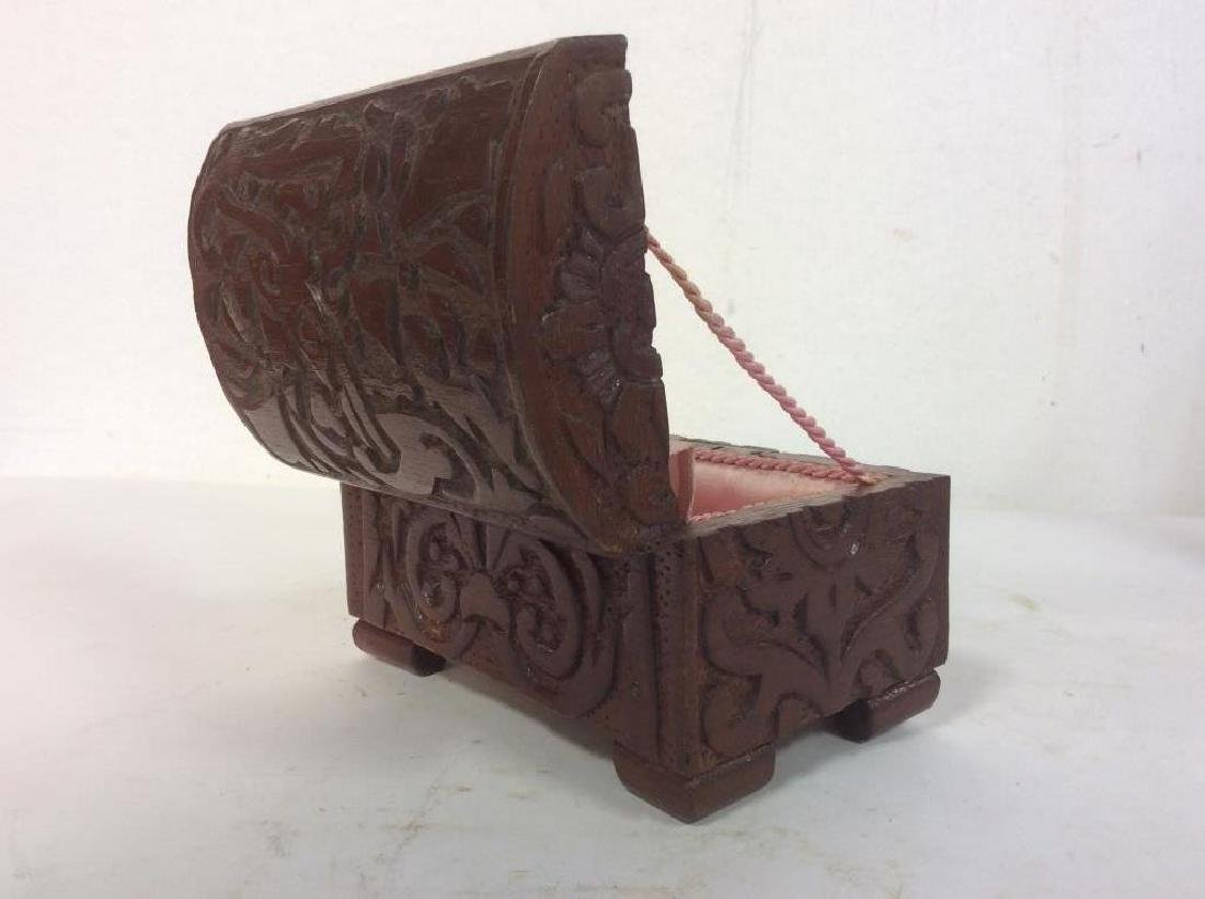 Vintage Carved Wooden Lidded Box W Key - 3