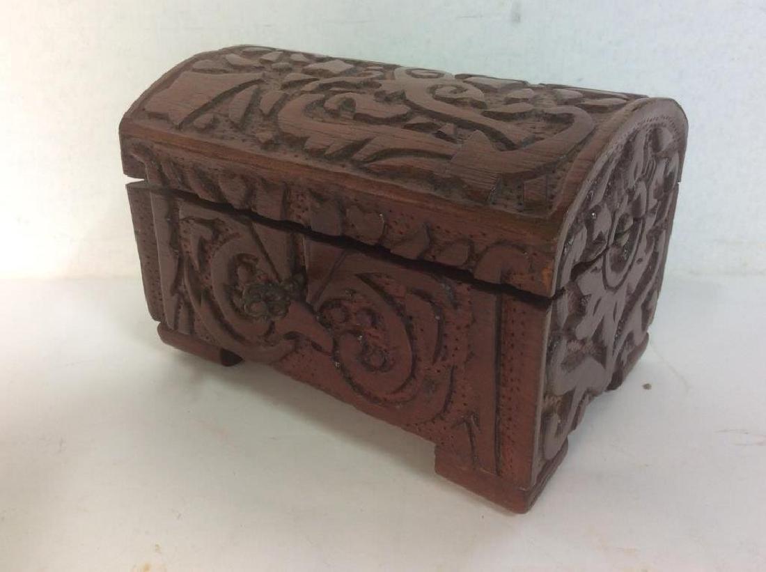 Vintage Carved Wooden Lidded Box W Key - 4