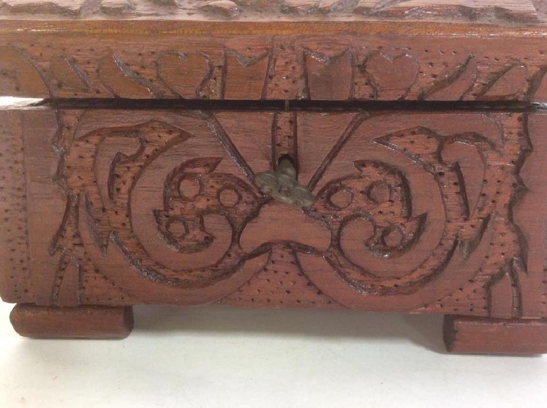 Vintage Carved Wooden Lidded Box W Key - 5