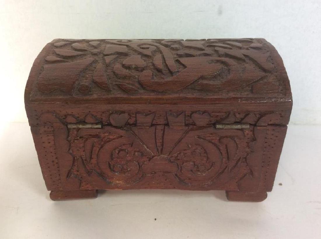 Vintage Carved Wooden Lidded Box W Key - 8