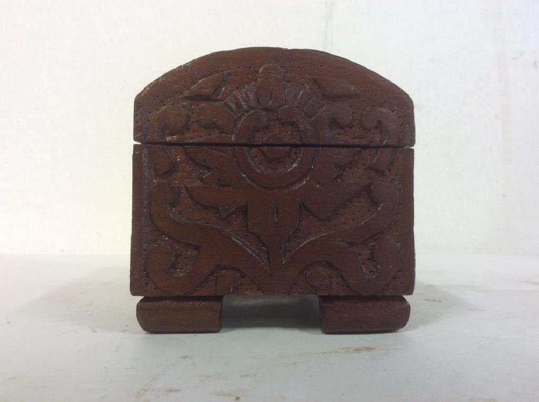 Vintage Carved Wooden Lidded Box W Key - 9