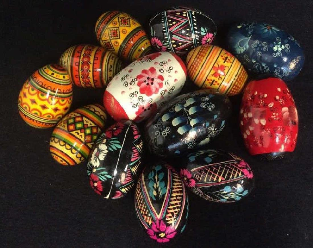 Group Lot Collectible Hand-Painted Wooden Eggs - 2