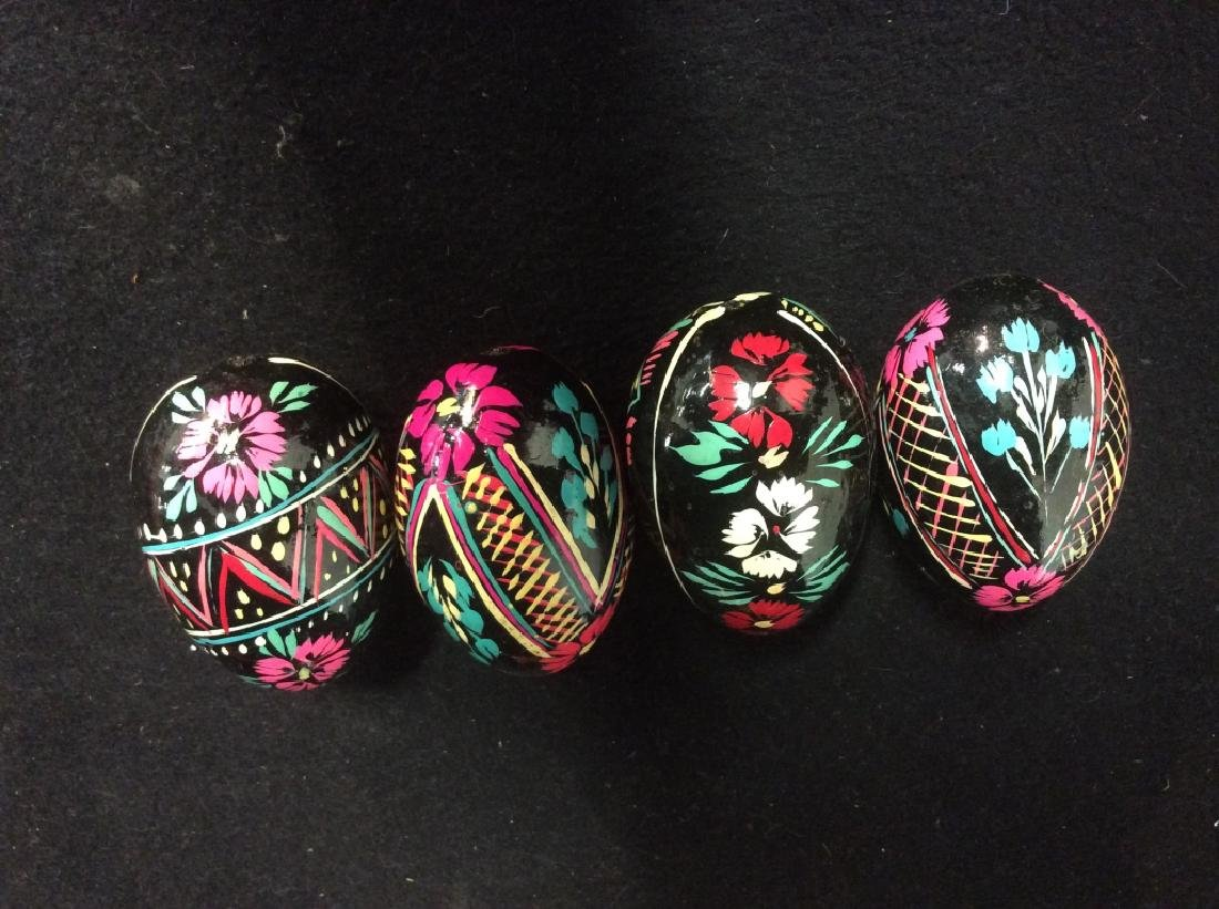 Group Lot Collectible Hand-Painted Wooden Eggs - 3