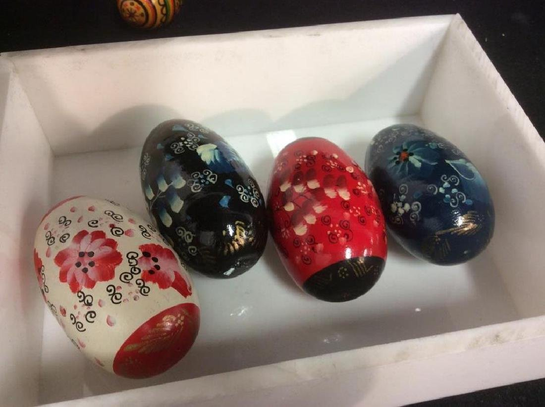 Group Lot Collectible Hand-Painted Wooden Eggs - 4