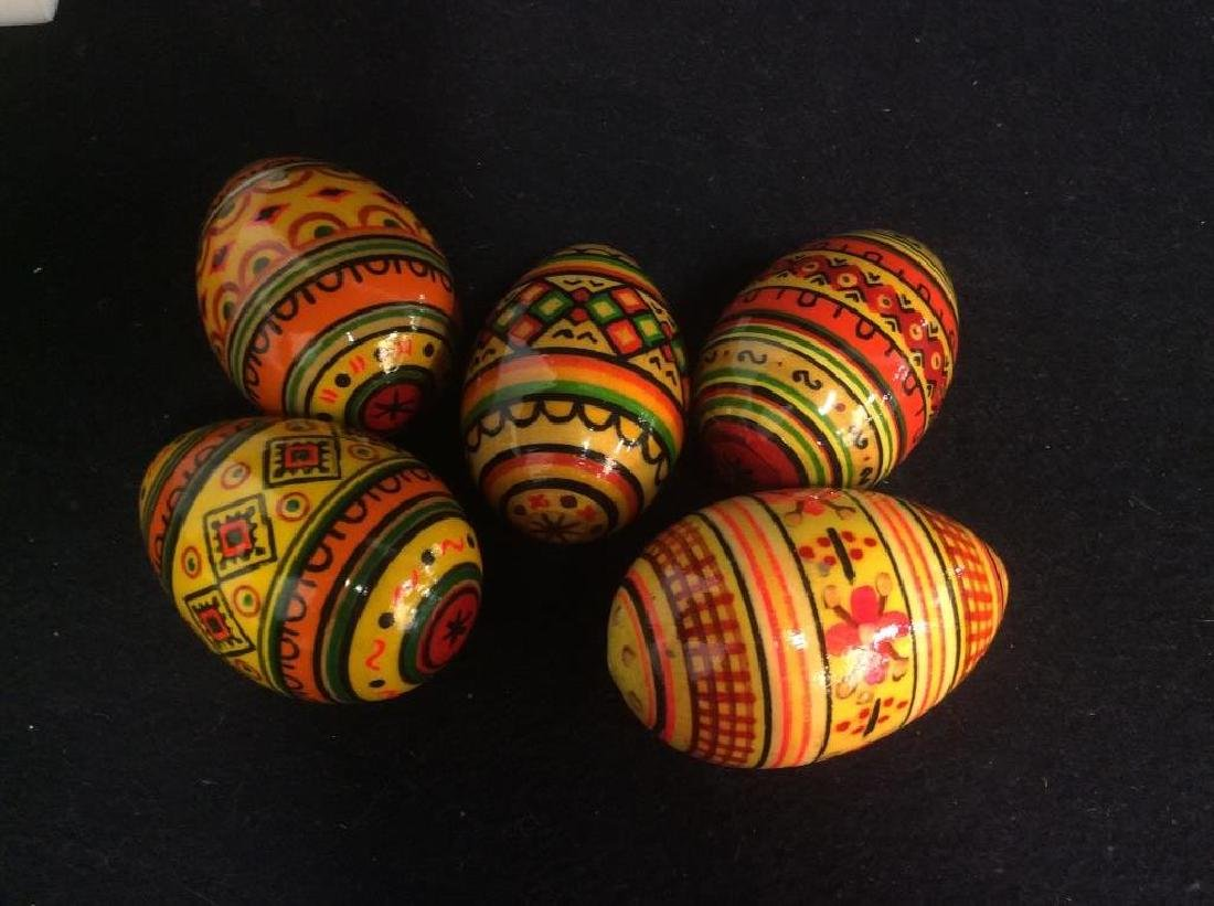 Group Lot Collectible Hand-Painted Wooden Eggs - 6