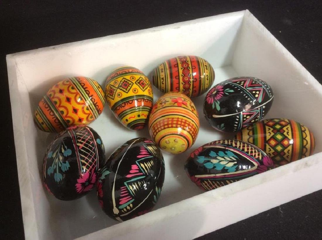 Group Lot Collectible Hand-Painted Wooden Eggs - 7