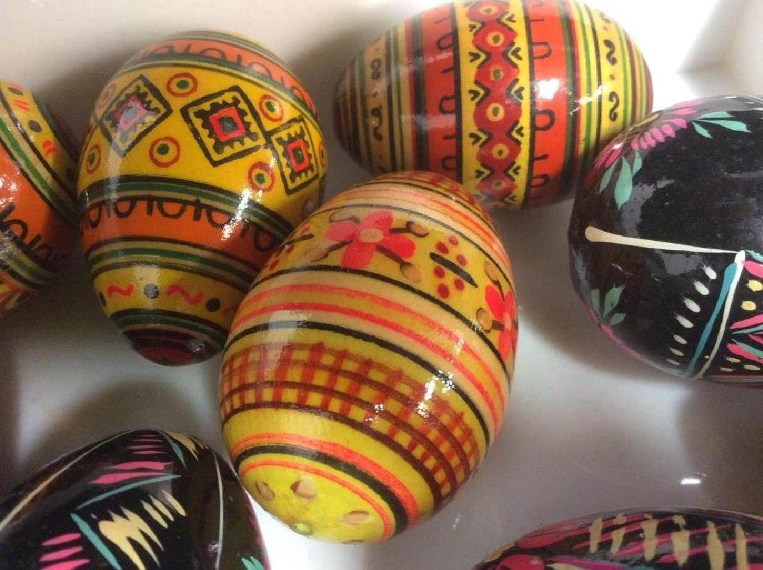 Group Lot Collectible Hand-Painted Wooden Eggs - 8