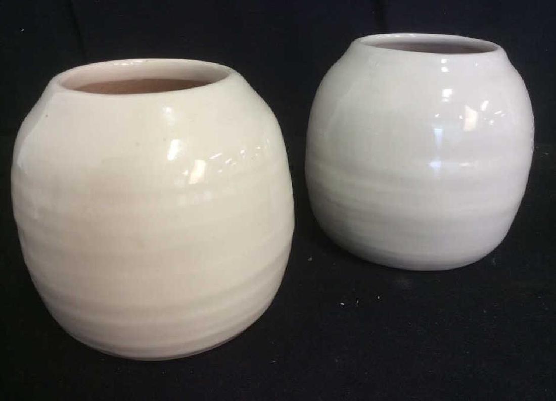 Pair of Cream Tone Ceramic Vases / Planters - 2