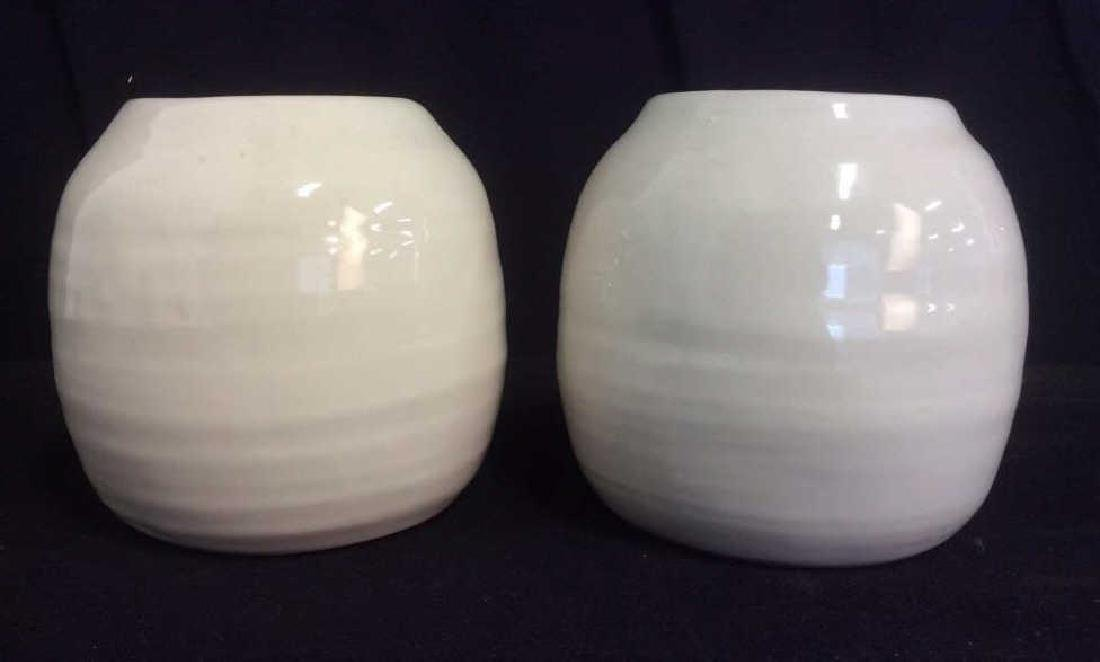 Pair of Cream Tone Ceramic Vases / Planters - 3