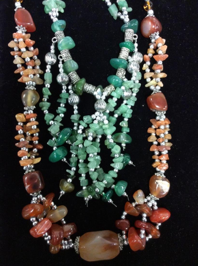 Pair Natural Stone Beaded Necklaces