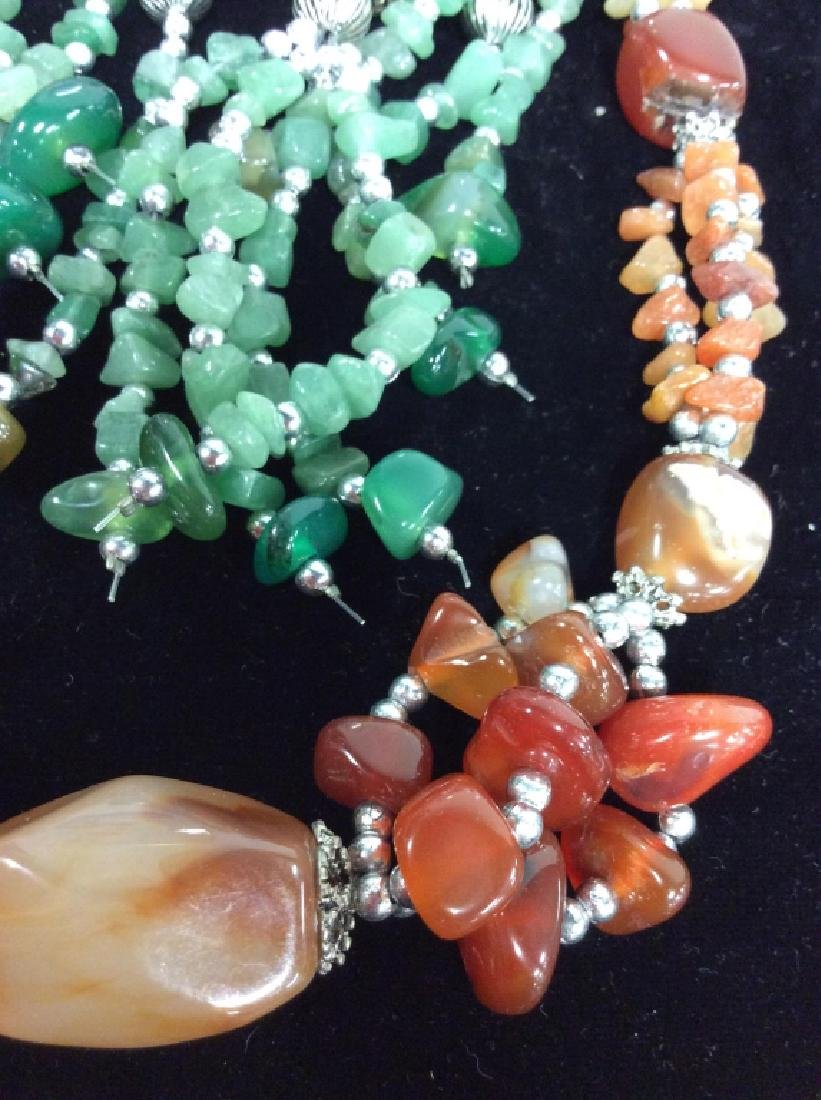 Pair Natural Stone Beaded Necklaces - 2