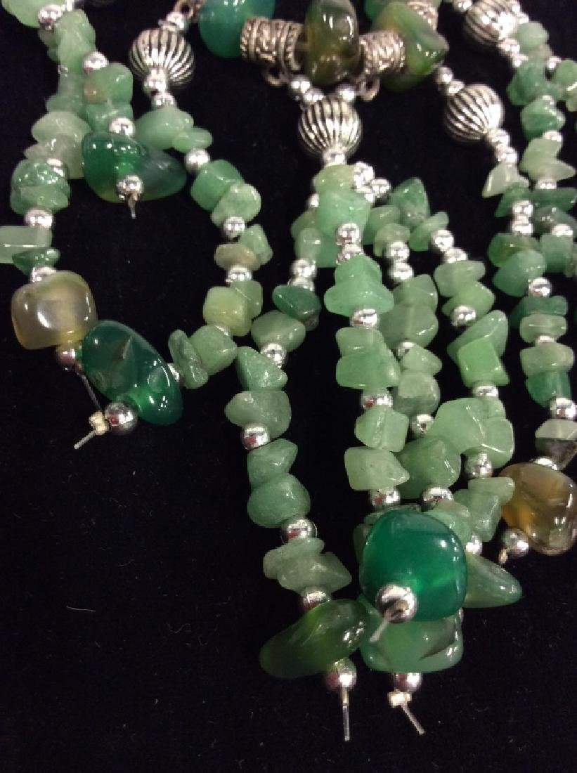 Pair Natural Stone Beaded Necklaces - 7