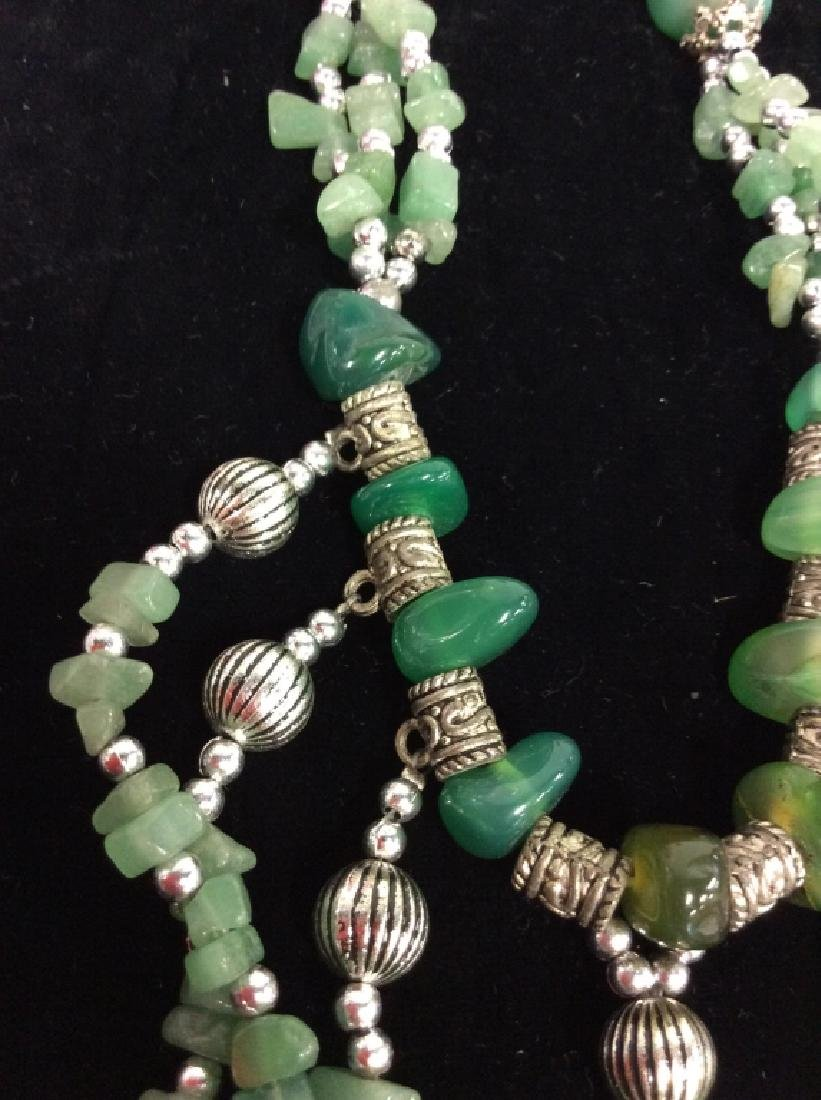 Pair Natural Stone Beaded Necklaces - 8