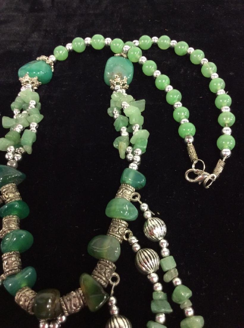 Pair Natural Stone Beaded Necklaces - 9