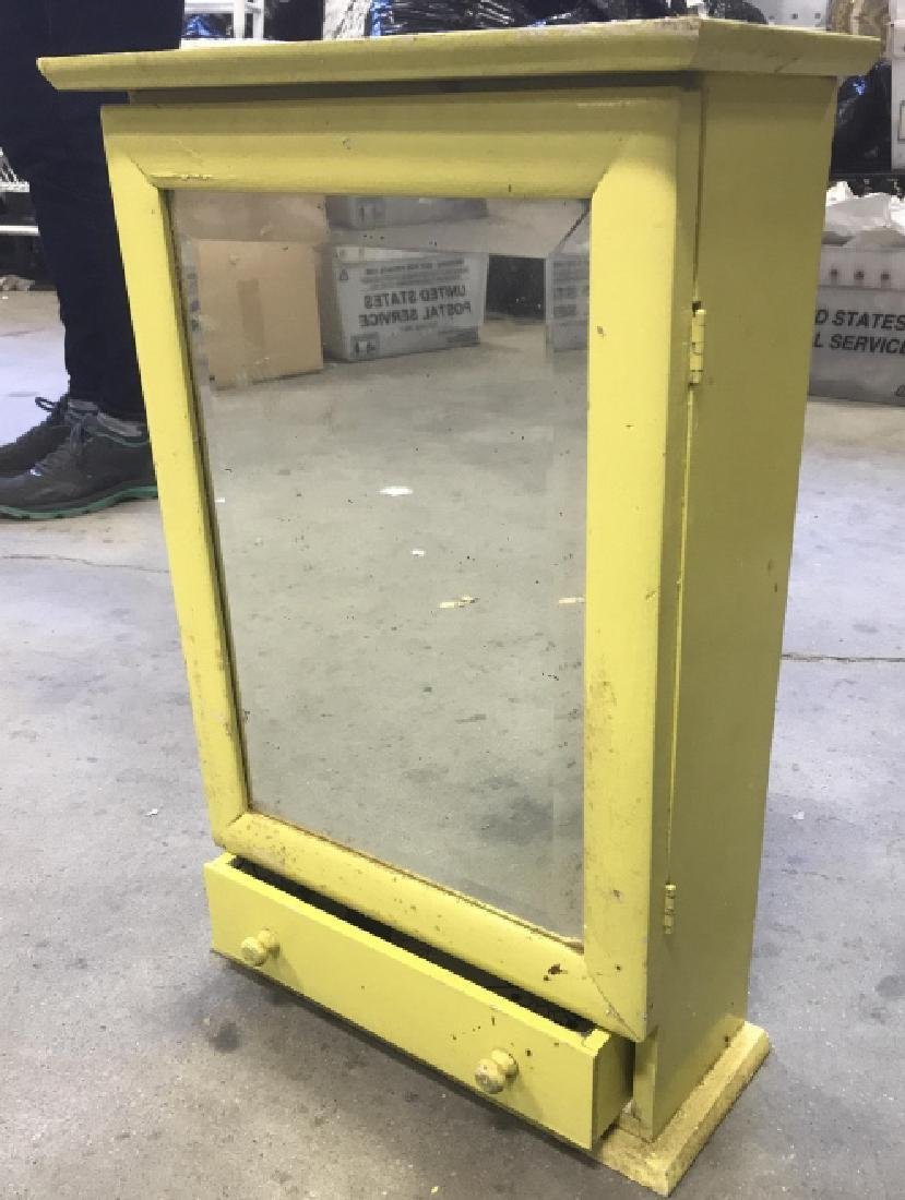 Yellow Painted Wood Medicine Cabinet - 7