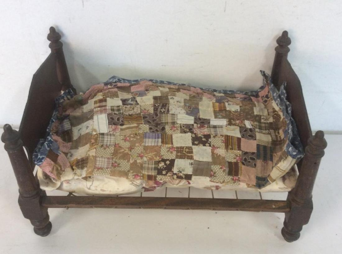 Antique Hand Made Doll Bed w Quilt - 10