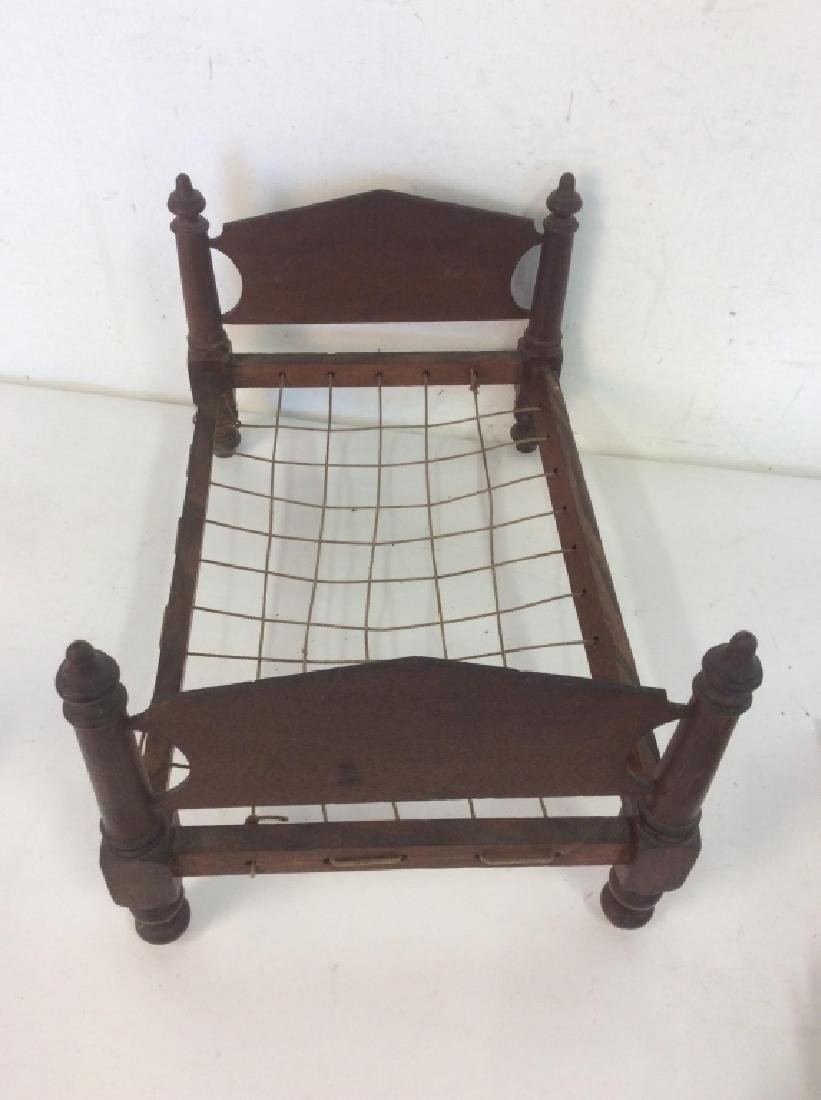 Antique Hand Made Doll Bed w Quilt - 4