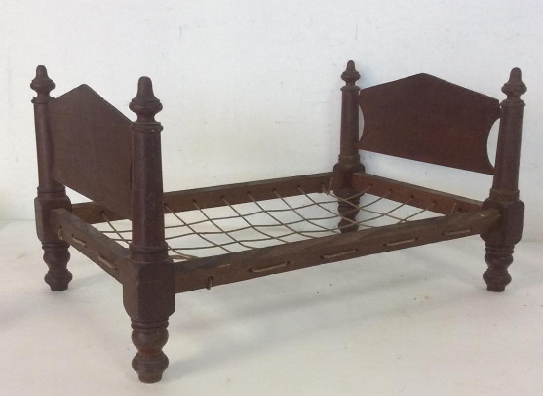 Antique Hand Made Doll Bed w Quilt - 5