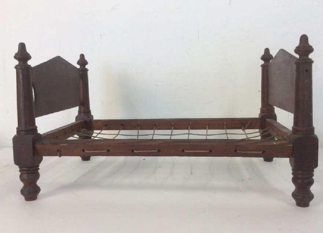 Antique Hand Made Doll Bed w Quilt - 6