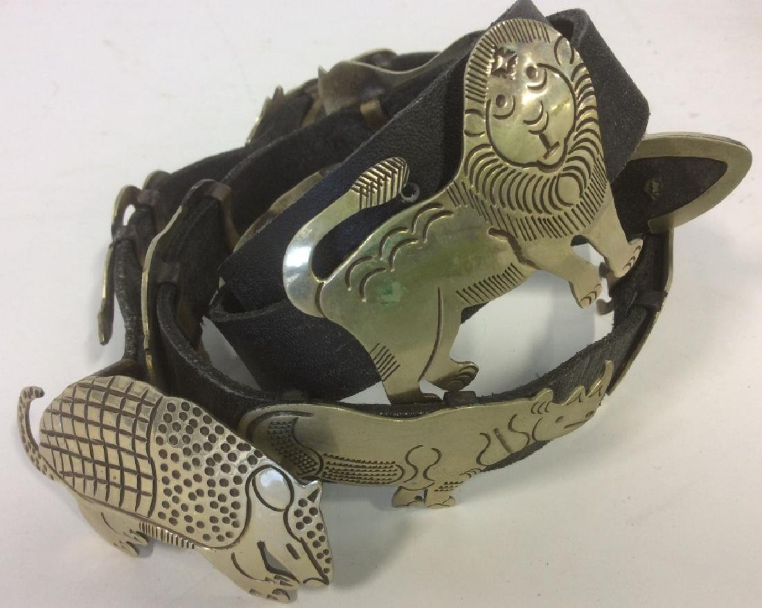 Silver Plate Animal Figurals Leather Belt - 2