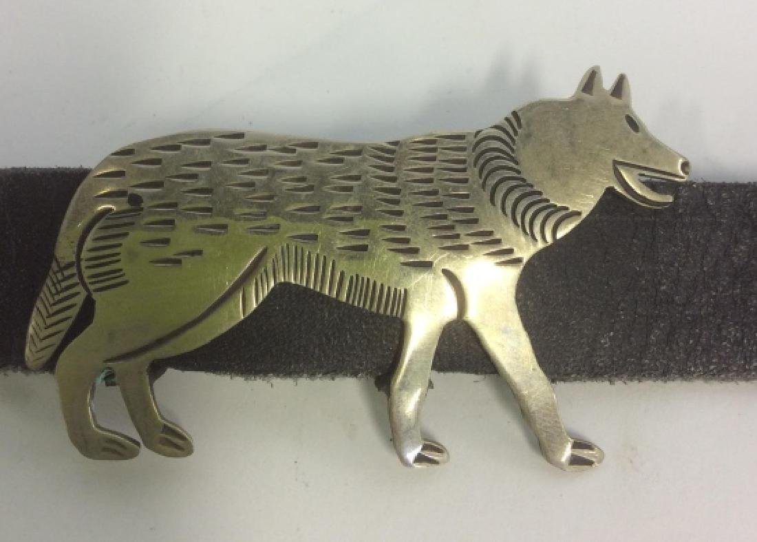 Silver Plate Animal Figurals Leather Belt - 9