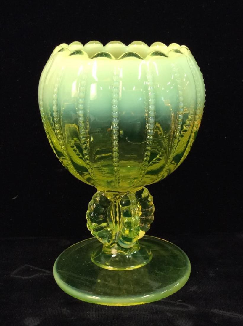 Yellow Toned Pressed Vaseline Glass Vase