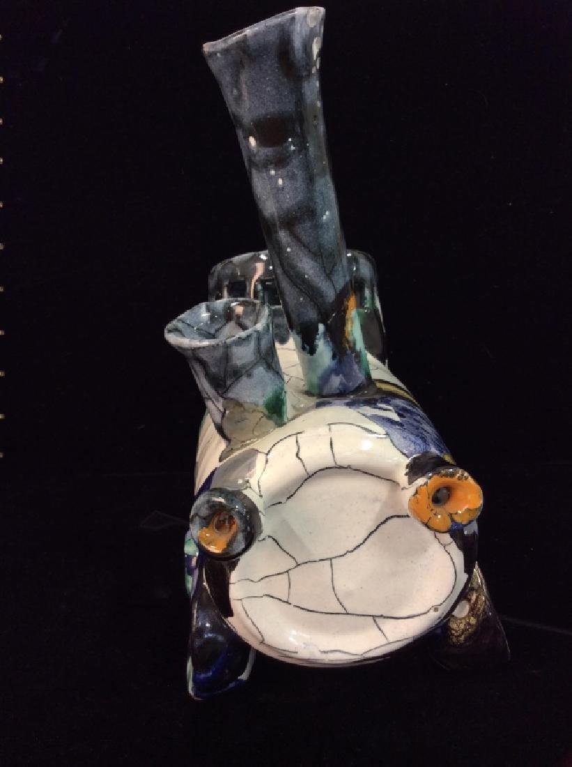 Handcrafted Studio Art Pottery Train Statue - 3