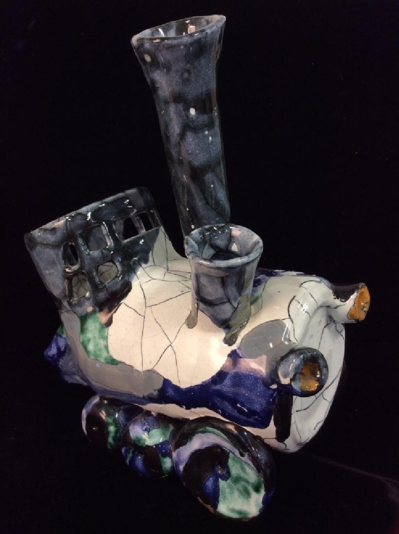 Handcrafted Studio Art Pottery Train Statue - 4