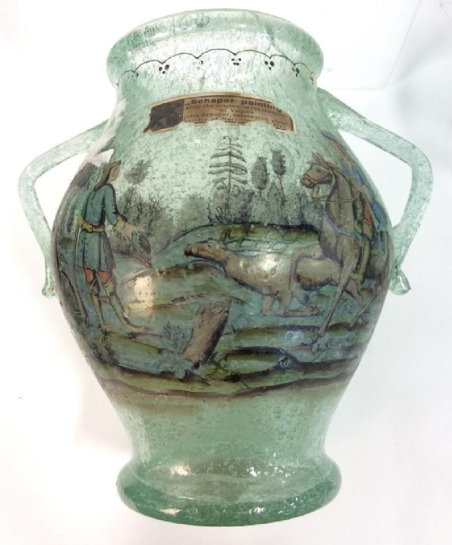 Vintage/Antique Painted Green Glass Vase